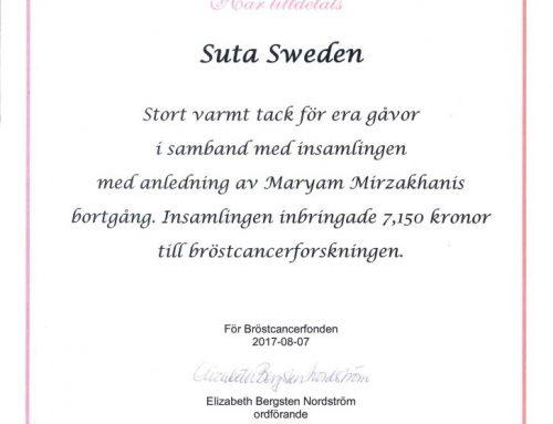 کمک مالی سوتای سوئد به یادبود پروفسور مریم میرزاخانی